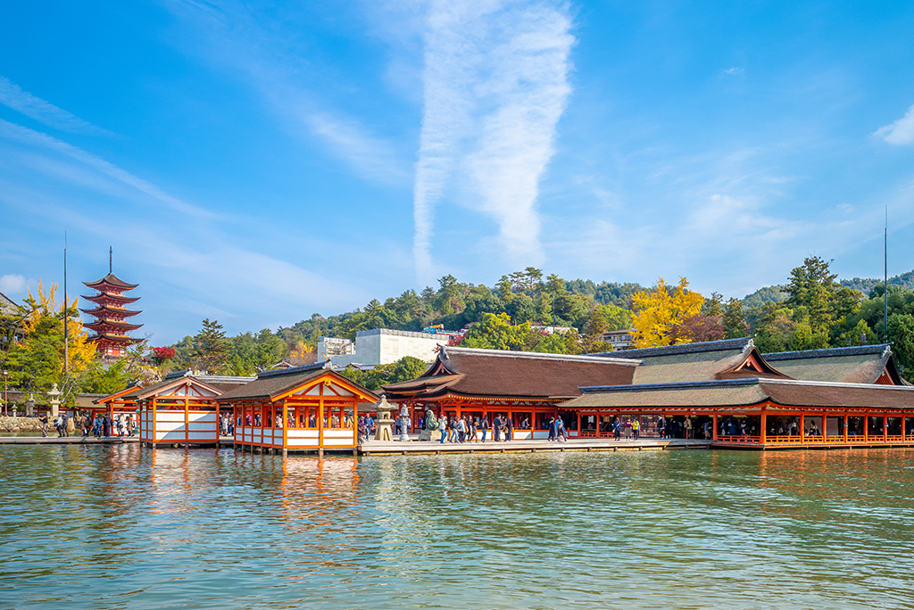 Itsukushima Shrine in  Miyajima island, Hiroshima, Japan